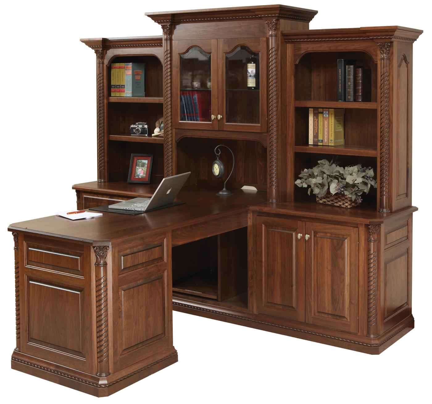 Lexington Partner Desk W Three Piece Hutch