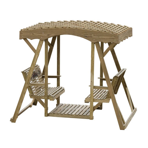 Luxcraft Double Lawn Glider - Rose Lattice Roof - Geitgey's Amish Country Furnishings