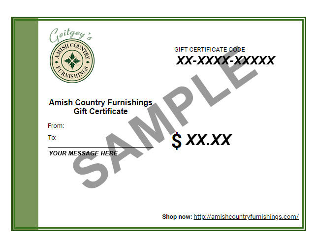ACF Gift Certificate Preview - Geitgey's Amish Country Furnishings