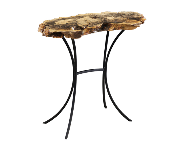 15 x 36 Buckeye Burl Sofa Table with Retro Base