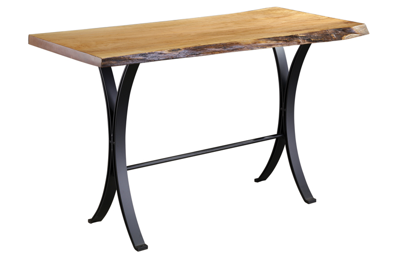 28 x 68 Spalted Maple 42 Bar Table with Eclipse Legs and Footrest