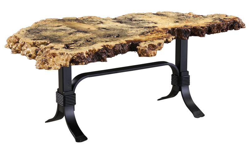 30 x 48 Buckeye Burl Coffee Table with Cameron Base