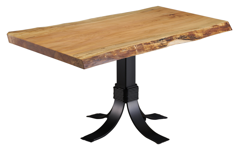 38 x 60 Spalted Maple Slab Table with Galaxy Pedestal Base
