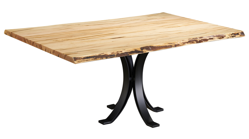 40 x 66 Wormy Maple Dining Table with Eclipse Pedestal Base