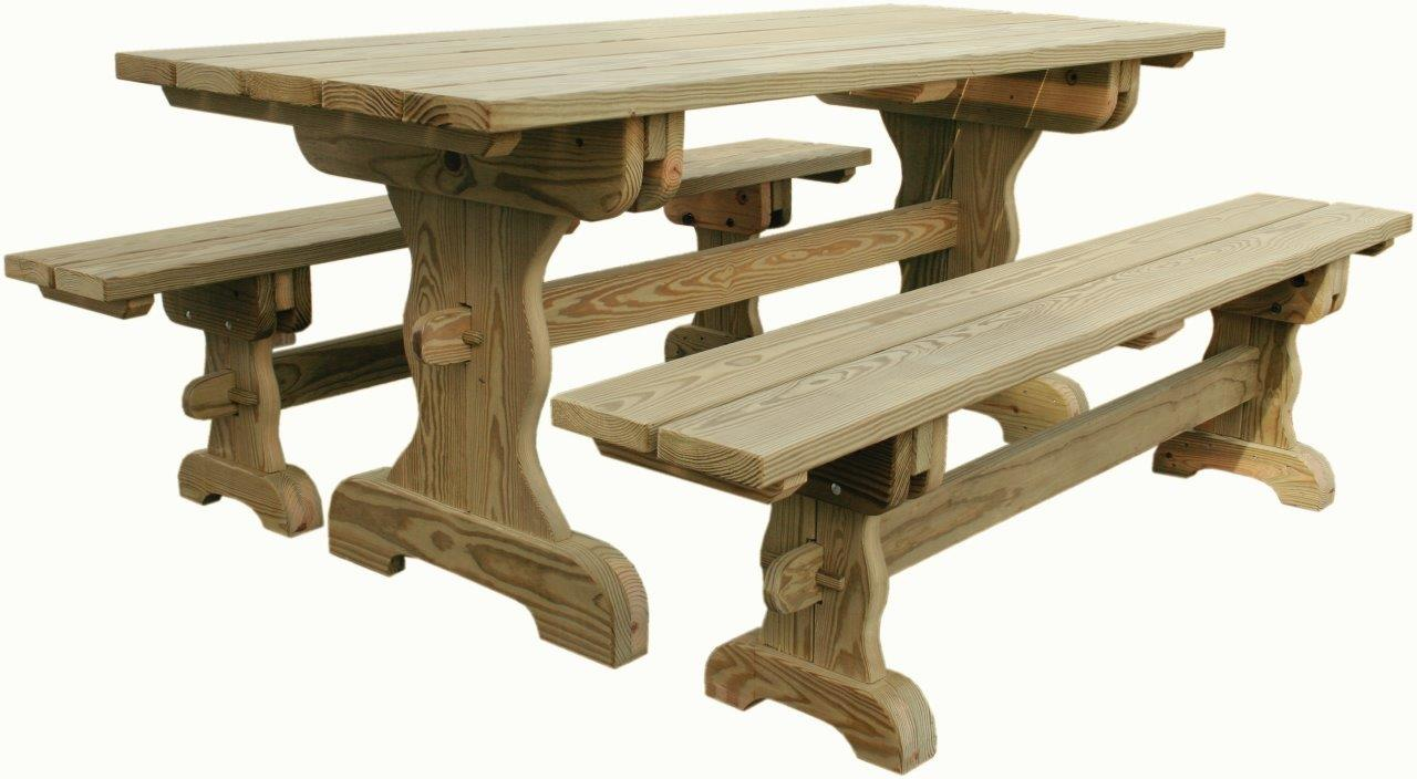 Pleasing 7 Trestle Table W Benches Ibusinesslaw Wood Chair Design Ideas Ibusinesslaworg