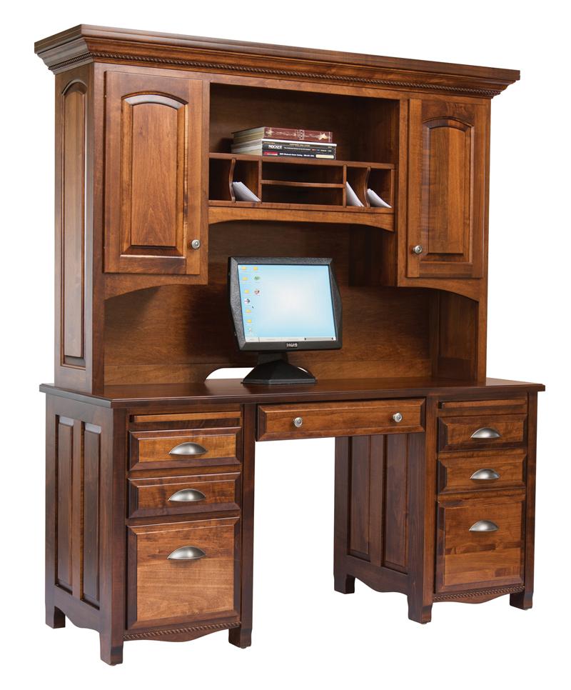 Office Desks Laurel Double Pedestal Desk Hutch