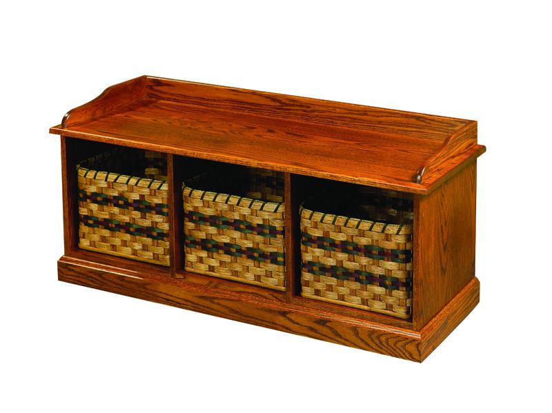 Living :: Accessories :: 3 Basket Storage Bench .
