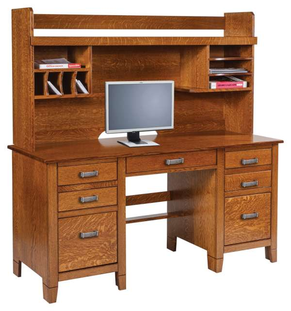 Office Desks Jacobsville 72 Double Pedestal Desk Hutch