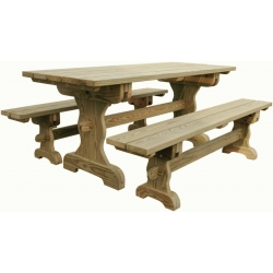 7' Trestle Table w/ Benches
