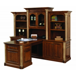 Jefferson Partner Desk W/ Three Piece Hutch