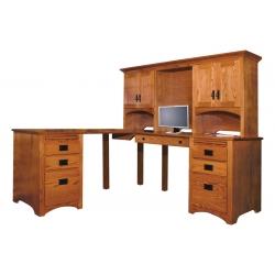 Mission Corner Computer Desk & Hutch