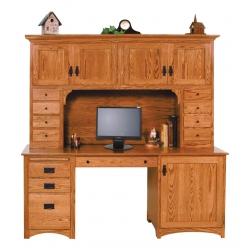 Mission Double Pedestal Desk & Hutch