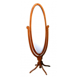 Antique Oval Pedestal Base Cheval Mirror