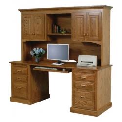 "Traditional 62"" Double Pedestal Desk & Hutch"