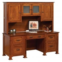 Parker Mission Double Pedestal Desk with Hutch