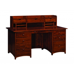 East Point Credenza Desk with Cubby Topper