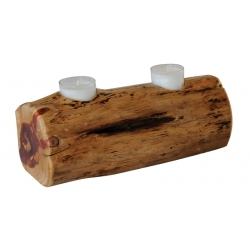 Rustic Log Candle Holder - 12""