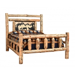 Knotty Pine Traditional Bed with Metal Silhouette