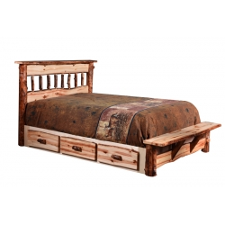 Country Classic Rocky Mountain Traditional Bed with Storage Rails