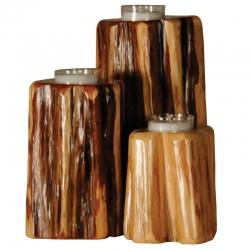 Upright Wood Candle Holders Set