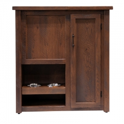 Rustic Pet Armoire with Feeder