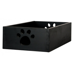 Small Wooden Dog Toy Box - Black