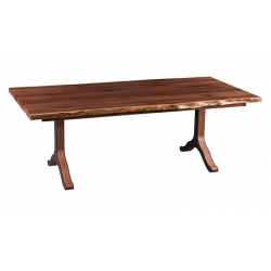 "42"" x 84"" Live Edge Dining Table with Strada Base & Company Boards"