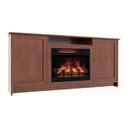 Newport Shaker Electric Fireplace Cabinet with Open Shelf
