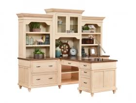 Bridgeport Partner Desk & Three Piece Hutch