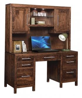 Office Desks Vienna Double Pedestal Desk With Hutch