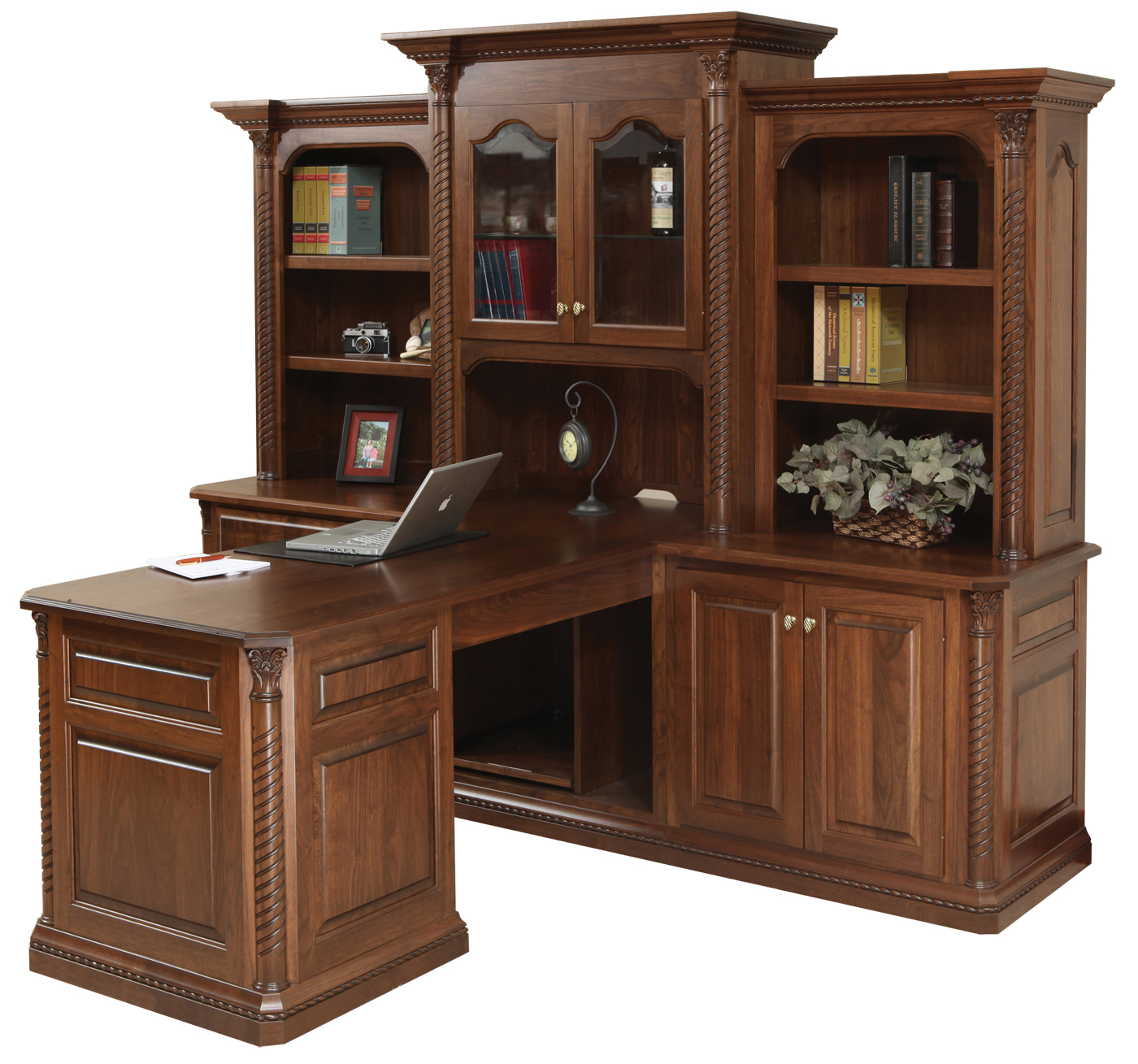 Beau Lexington Partner Desk W/ Three Piece Hutch