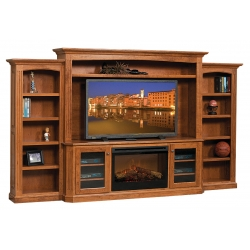 Buckingham Entertainment Center W/ Fireplace & Side Bookcases