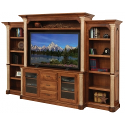 "Jefferson 68"" Entertainment Center & Side Bookcases"