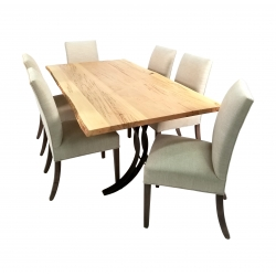 Double Curved Base Live Edge Table Set