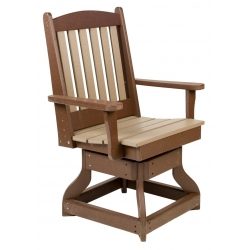 Dining Height Swivel Slatted Arm Chair