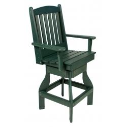 Bar Height Swivel Slatted Arm Chair