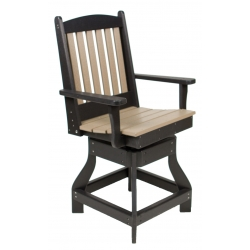 Counter Height Swivel Slatted Arm Chair