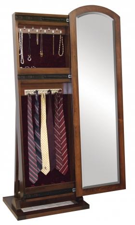 "Antique Shaker Leaner Mirror - 48"" Jewelry/Tie Box"